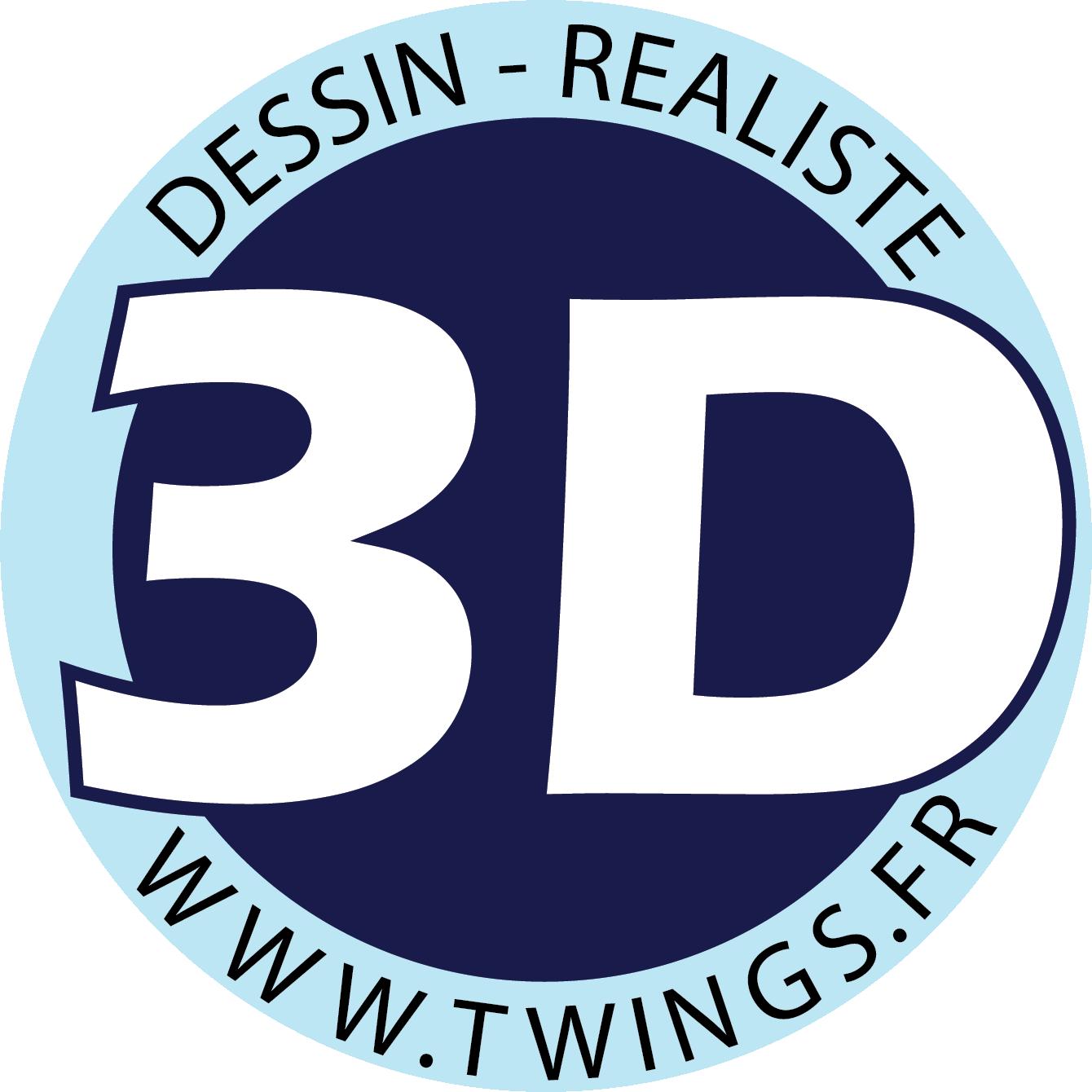 Twings Logo - Dessin image 3D réaliste
